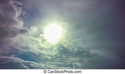motorflugzeug, fliegen, sonniger tag, blaues, sky.