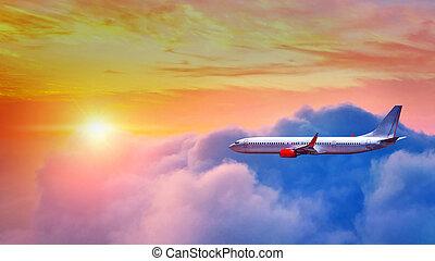 motorflugzeug, fliegendes, oben, wolkenhimmel, in, sonnenuntergang, light.