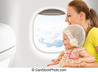motorflugzeug, flug, von, innenseite., frau, und, kind,...