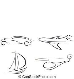 motorflugzeug, hubschrauber, auto, und, yacht