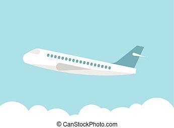 motorflugzeug, in, der, blauer himmel