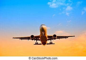 motorflugzeug, in, der, himmelsgewölbe