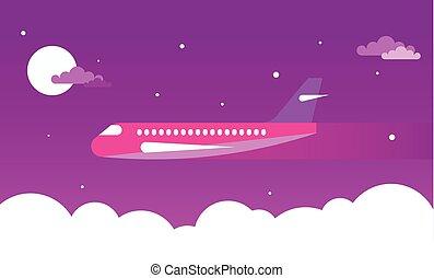 motorflugzeug, in, der, nacht himmel