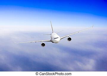 motorflugzeug, in, der, sky., passagier verkehrsflugzeug