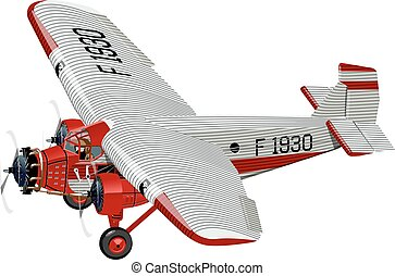 motorflugzeug, karikatur, retro