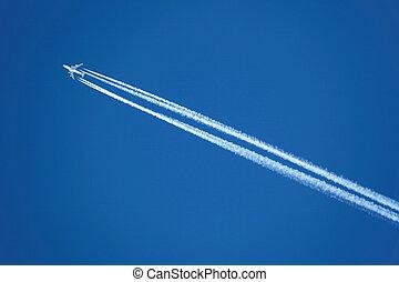motorflugzeug, mit, kondensstreifen