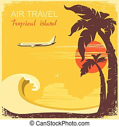 motorflugzeug, paradies, retro, tropische , altes , plakat