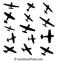 motorflugzeug, silhouetten
