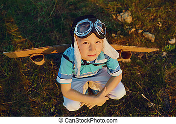 motorflugzeug, spielzeug, sonnenuntergang, teenager, natur