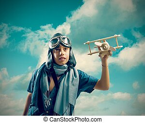 motorflugzeug, spielzeug, spielende , kind, glücklich
