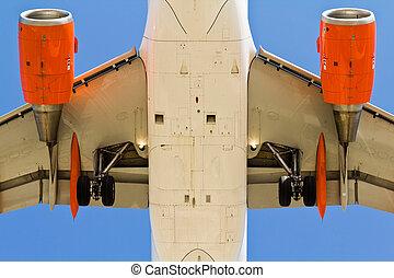 motorflugzeug, unterhalb, ansicht