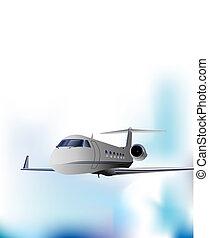 motorflugzeug, vektor, banner, abbildung, flight.