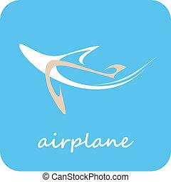 motorflugzeug, -, vektor, ikone