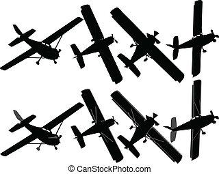 motorflugzeug, vektor, -, sammlung
