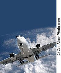 motorflugzeug, vorher, landung