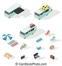 Motorhome and camping accessories isometric icons set