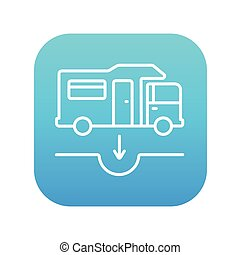 Motorhome and sump line icon. - Motorhome and sump line icon...