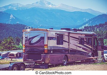 Camping in the Motorhome in the Scenic Colorado RV Park. Class A Diesel Pusher Motorhome.