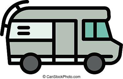 motorhome, contour, style, camping car, icône
