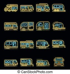 Motorhome icons set vector neon