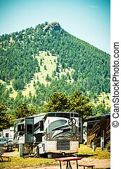 Motorhome RVing American Lifestyle. Class A Motohomes in the RV Park.