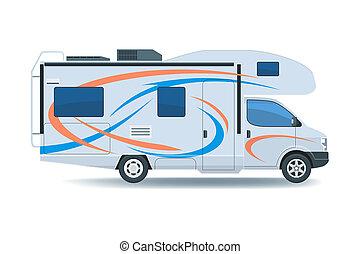 Motorhome or recreational vehicle RV camper car