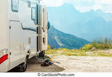 Motorhome RV Mountains Trip. Camper Camping and the Scenic...