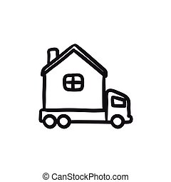 Motorhome sketch icon.