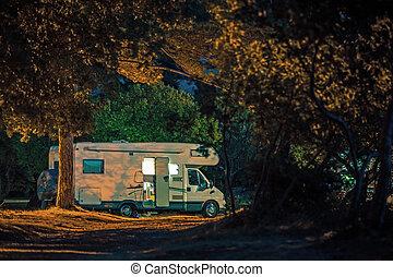 Calm Camping Night inside RV Camper Van