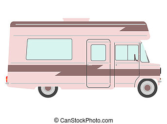 Vintage motorhome on a white background