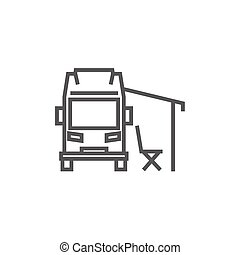 Motorhome with tent thick line icon with pointed corners and edges for web, mobile and infographics. Vector isolated icon.