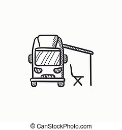 Motorhome with tent vector sketch icon isolated on background. Hand drawn Motorhome with tent icon. Motorhome with tent sketch icon for infographic, website or app.