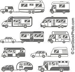Motorhomes Black White Icons Set