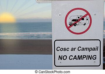 motorhomes, zeichen, sonnenuntergang, camping, nein