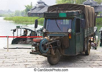 motorisiert, transport, drei, chinesisches , rad