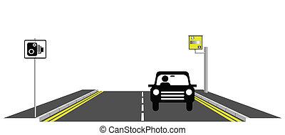 caught speeding - Motorist being caught speeding by roadside...