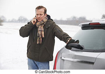 Motorist Broken Down In Snowy Landscape