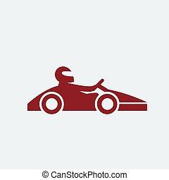 motorista, ícone, kart