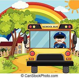motorista ônibus, estrada, dirigindo, schoolbus