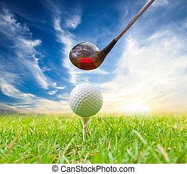 motorista, bola, golpe, tee, golfe