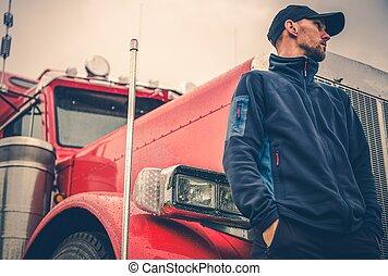 motorista, caminhão, ocupação