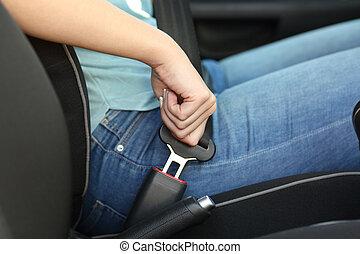 motorista, car, cinto segurança, amarrar, mão
