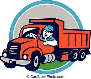 motorista, cima, caminhão, entulho, círculo, polegares, caricatura