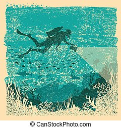 motorista, mar, underwater., lanterna, cartaz, scuba, ...