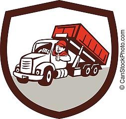 motorista, roll-off, escudo, cima, caricatura, caminhão, caixa, polegares