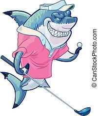 motorista, tubarão, golfe, caricatura, má