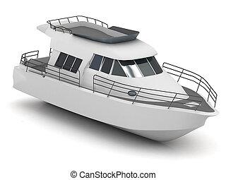 motorizado, barco de recreo, aislado