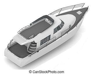 motorizado, barco de recreo, prima