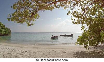 Motorized Dinghies Tied on Mahaanaelhihuraa Island, Maldives...
