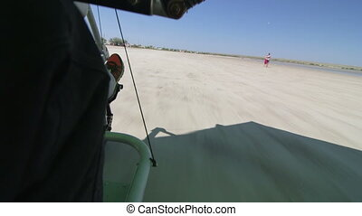 Motorized hang glider takes off
